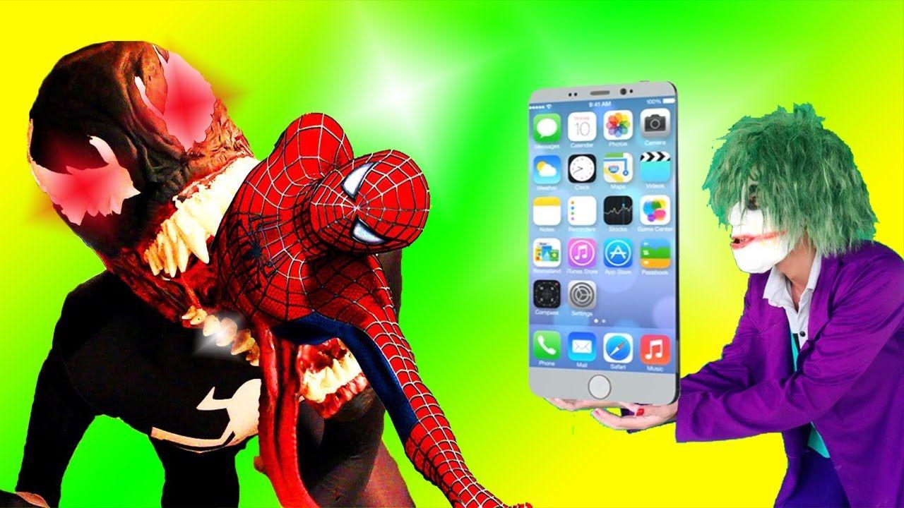 spiderman vs venom in real life! superhero silly selfie fun battle