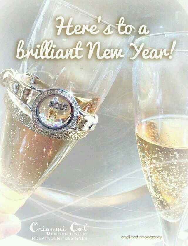 Cheers to 2015!! I love my gold metallic wrap from the holiday collection! www.RebeccaS.OrigamiOwl.com