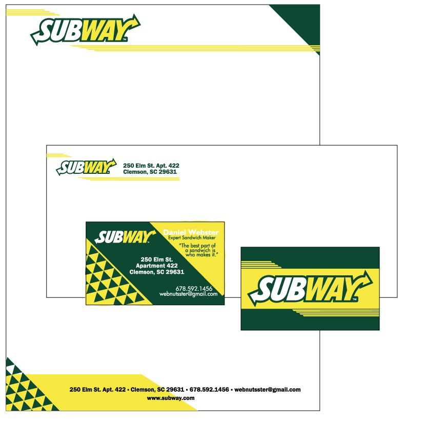 subway logos for business cards | Subway business cards and ...