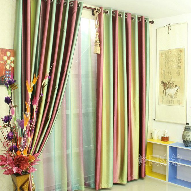 Rainbow Style Blackout Embossed Satin And Fiber Blend Living Room Curtains Two Panels