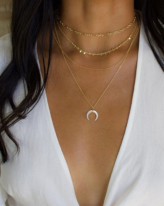 Gold Necklace, Layering Necklace Set, Layered Necklace, Upside Down Moon Necklace, Gold Horn Necklace, Double Horn Necklace, Crescent Moon