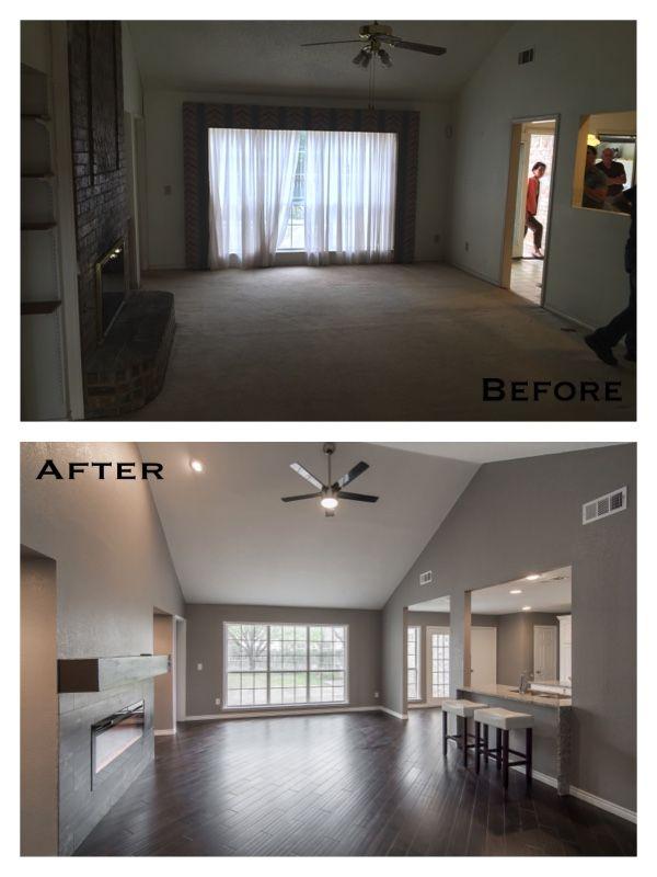 Living Room Make Over Gray Walls Dark Wood Floors Floating