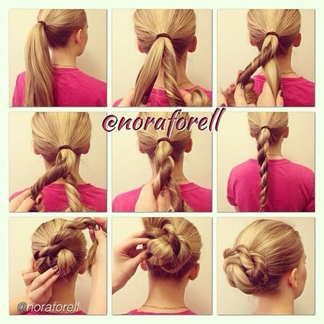 """Hair DIY by @noraforell """"1-3. Make a pony tail and divide it in two parts. Take the hair on your right side and twist it to your right. Then bring it over to the left side.  Hair DIY by @noraforell """"1-3. Make a pony tail and divide it in two parts. Take the hair on your right side and twist it to your right. Then bring it over to the left side.  7-9. Pick up your rope braid and wrap it around the hair elastic. Pin it into place and you are done!"""" #howto#diy#diyproject#makeityoursel"""