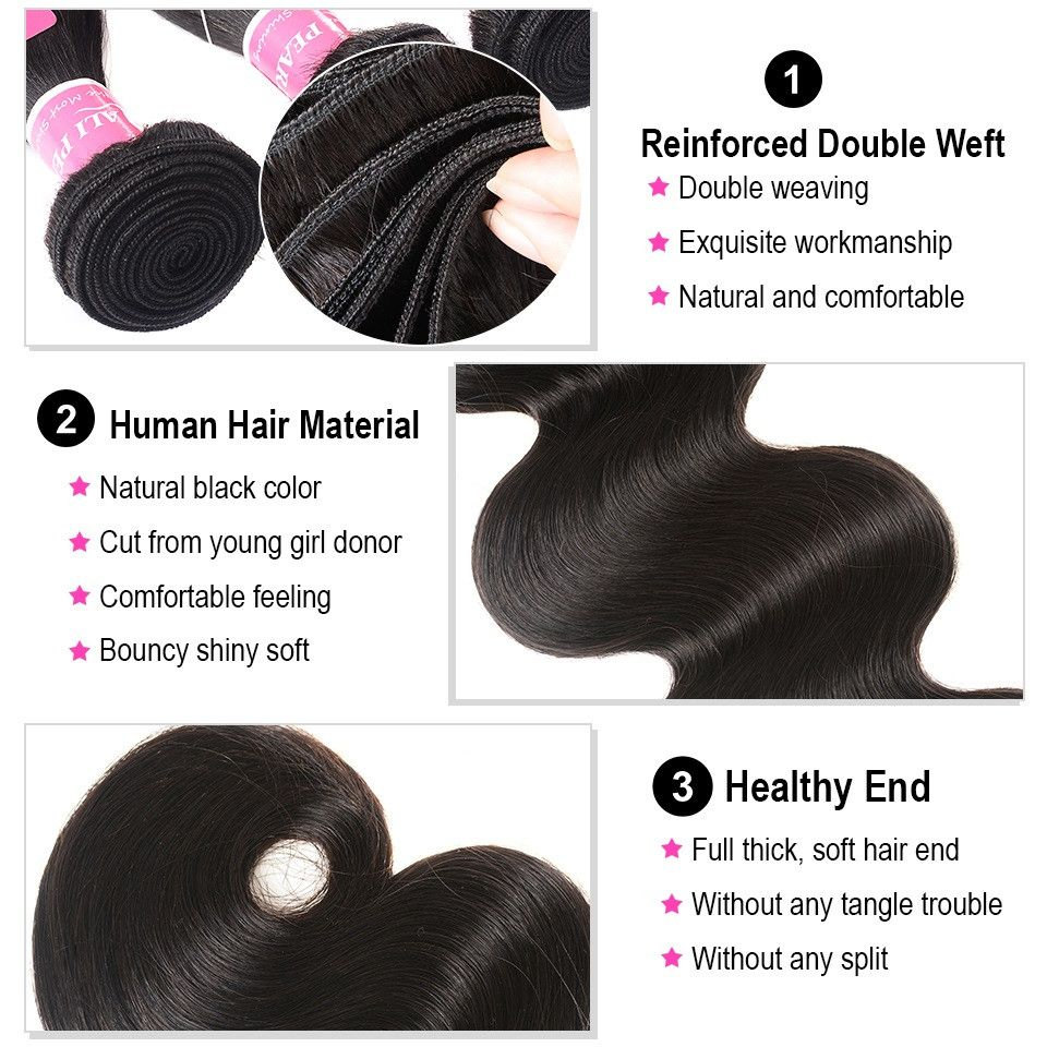 Human Hair Weaves Alipearl Human Hair Loose Wave Bundles With Frontal Pre Plucked Peruvian Hair Weave Bundles 3pcs Natural Color Remy Hair