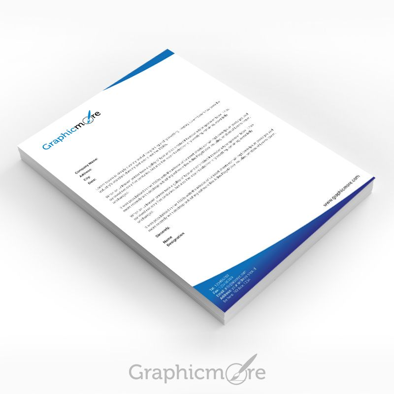 Blue Corporate Letterhead Design Free Psd File  Letterheads