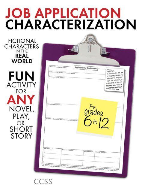 Job Application Characterization, Fun Stuff, Use with ANY Lit - resume writing worksheet