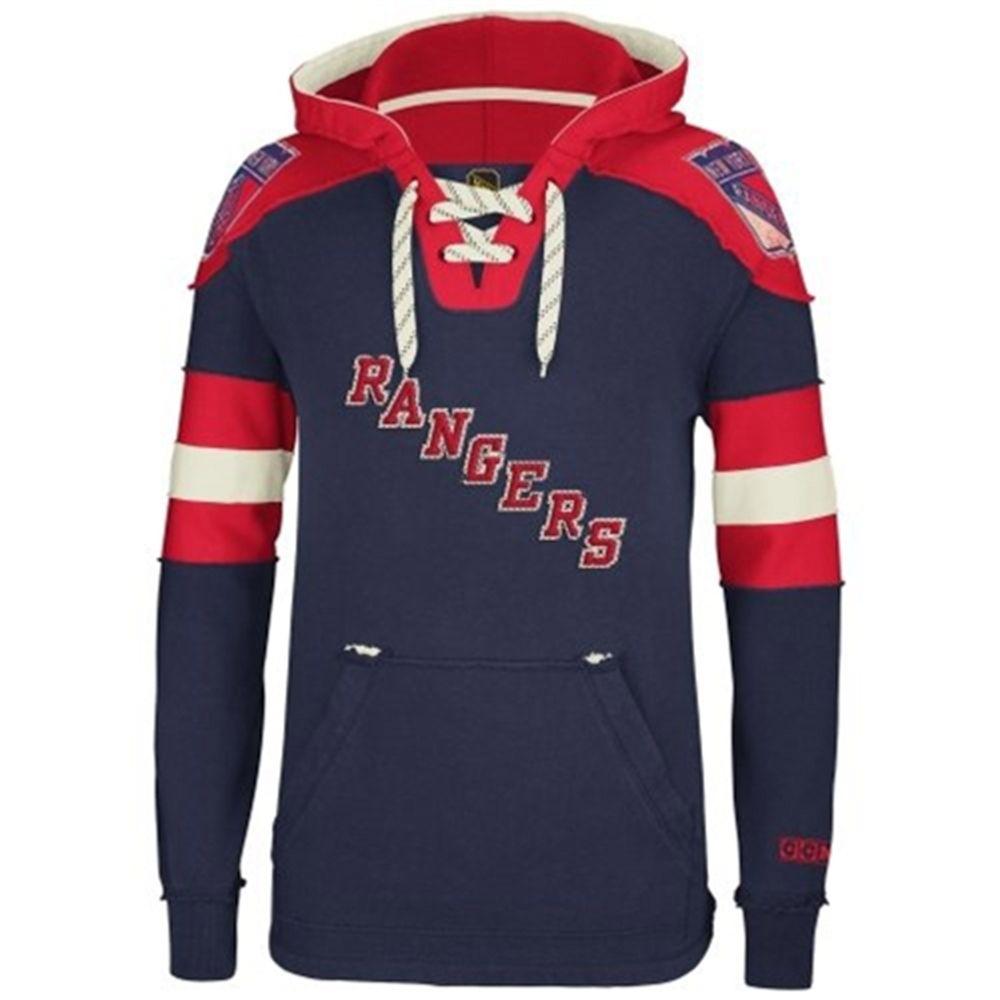 Mens New York Rangers Reebok Royal Blue Pullover Hoodie
