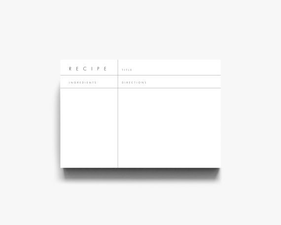 Recipe Template Recipe Cards Printable Recipe Cards Modern Recipe - 3x5 card template