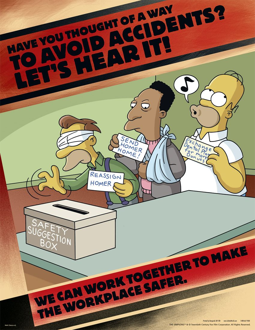 workplace safety posters simpsons safety responsibility s workplace safety posters simpsons avoid accidents s1108