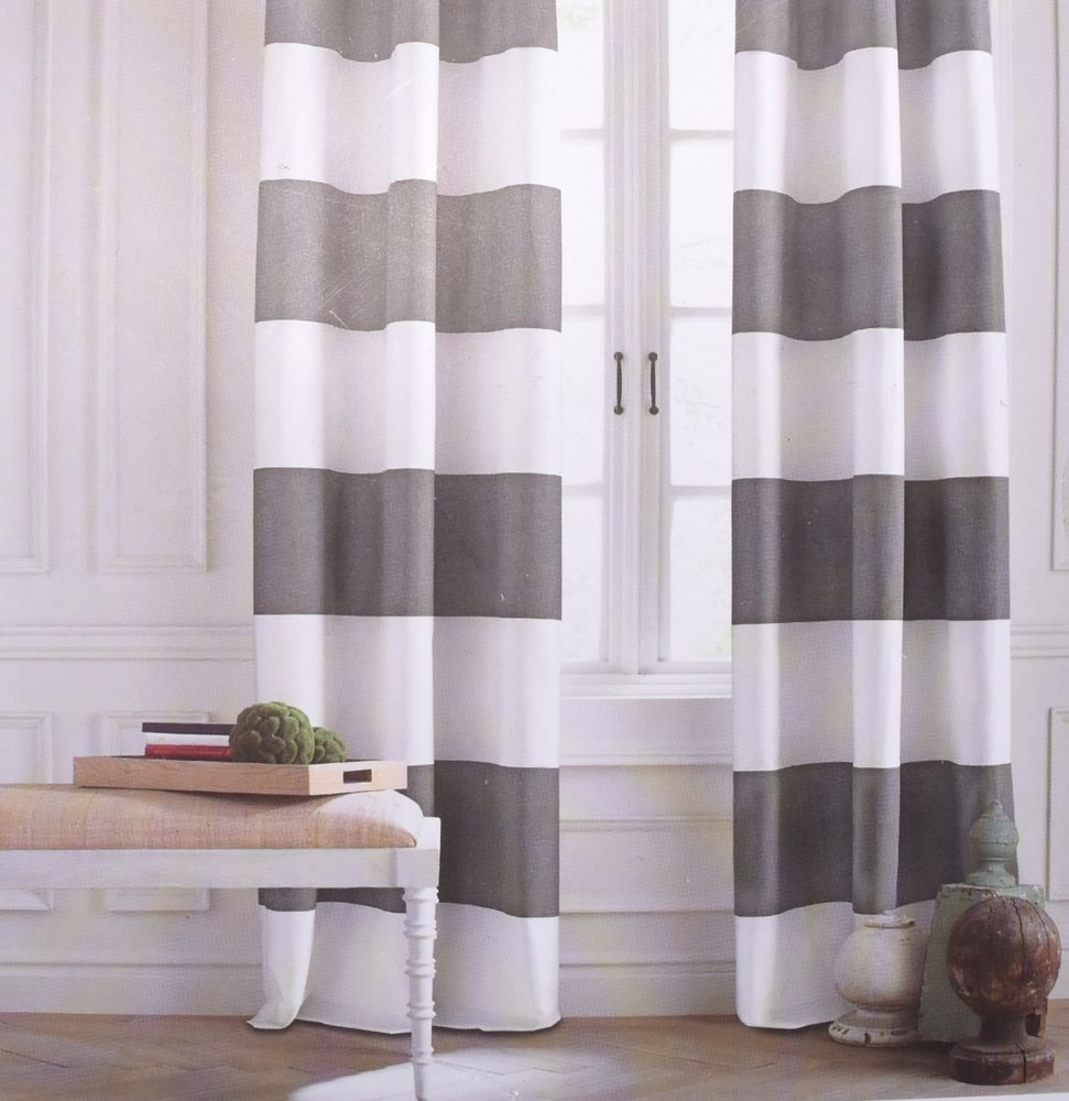 Tommy Hilfiger Cabana Stripe Gray White Grey 2pc Window Curtain Panels 84 Pair Tommyhilfiger