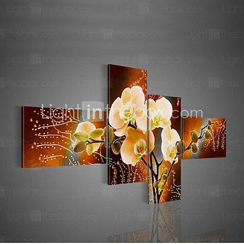 pintura al óleo moderna decorativa pintada a mano en la pared de lona imagen de la flor del arte de 4pcs salón / juego sin marco - USD $ 39.99