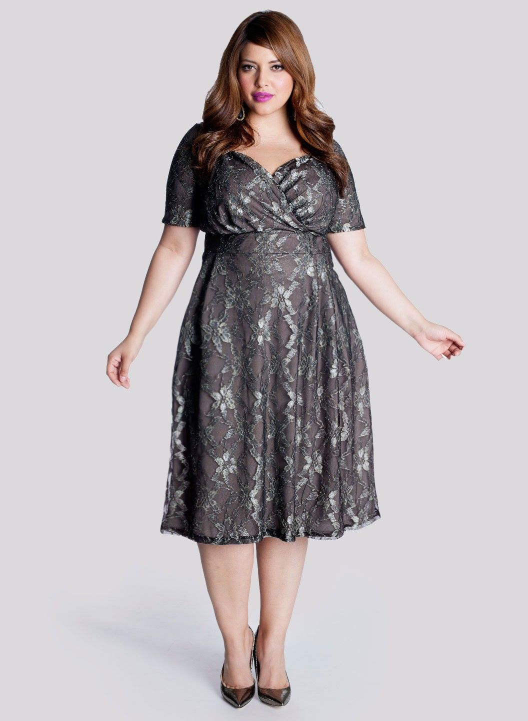 Marisol Plus Size Lace Dress in Truffle | Lace dress
