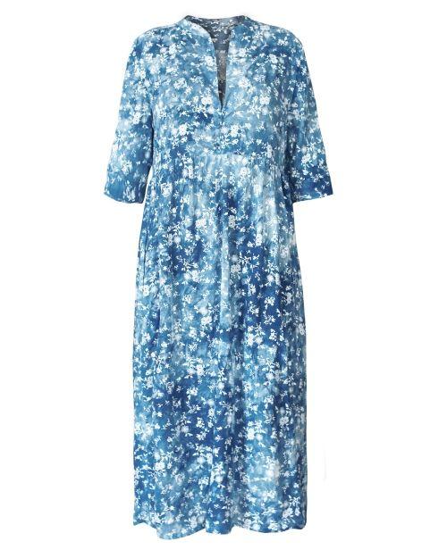 Blaues Kleid mit Blumen | Kleider, Business kleidung frau ...