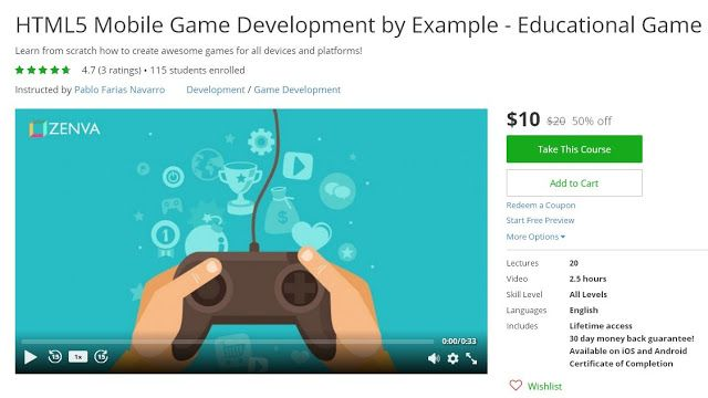 Coupon Udemy - HTML5 Mobile Game Development by Example - example of a coupon