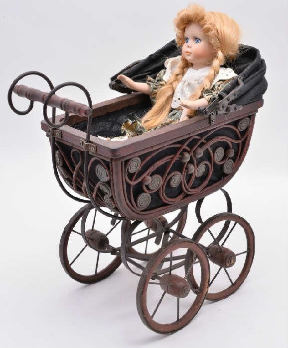 Metal doll carriage and doll