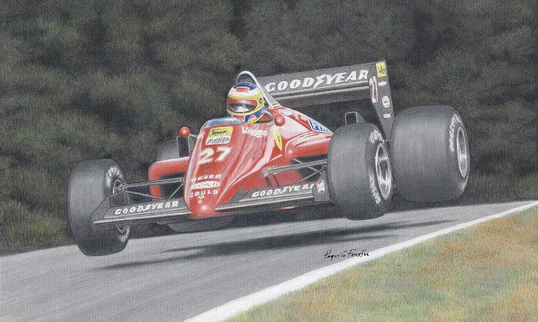 Michele Alboreto - Ferrari 156/85. Watercolor painting.  paquito-racing-art.it
