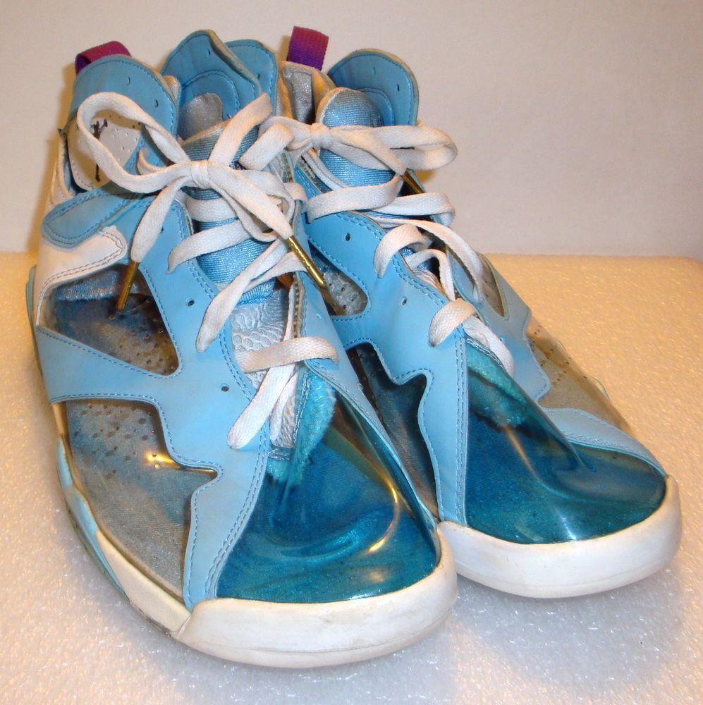 f2cd53871c7dd5 Rare Clear See Through Thru Nike Air Jordans Light Blue White Size 12  Nike…
