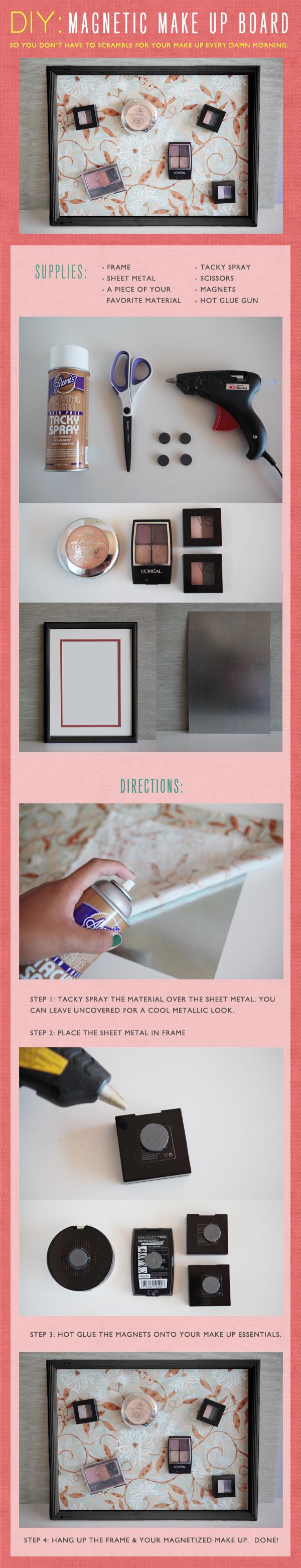DIY: Magentic Make Up Board