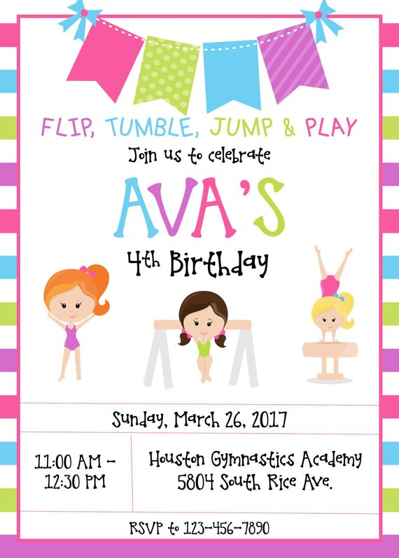 Gymnastics Birthday Invitation Party Invitations Invi