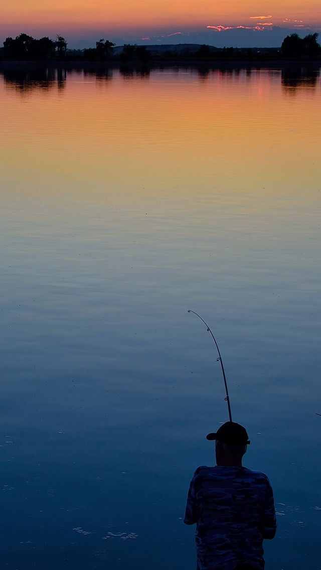 Sunset Lake Fishing IPhone 5 Wallpaper