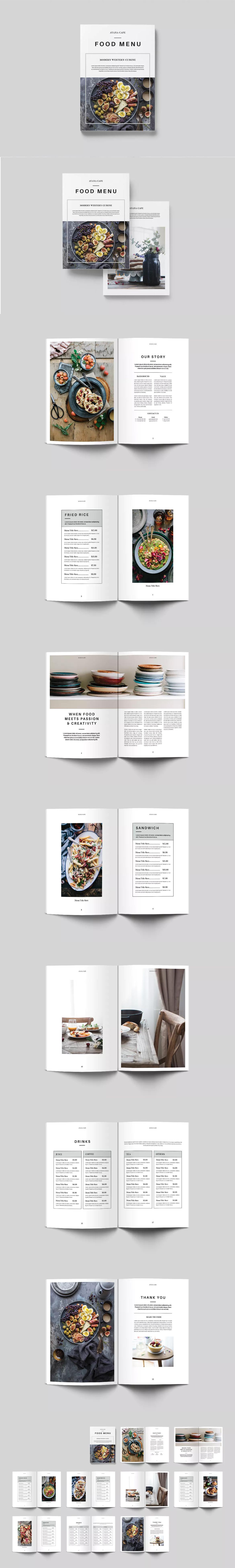 Food Menu Template InDesign INDD - A4 & US Letter | Food Menu ...