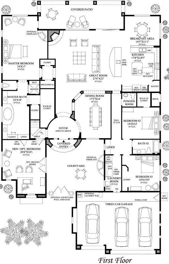 Floorplan House Plans Courtyard House Plans House Floor Plans