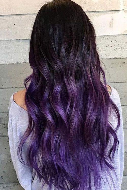 Lebhafte Haarfarbe für dunkles Haar – Ombre für dunkles Haar – Schwarze bis vi…