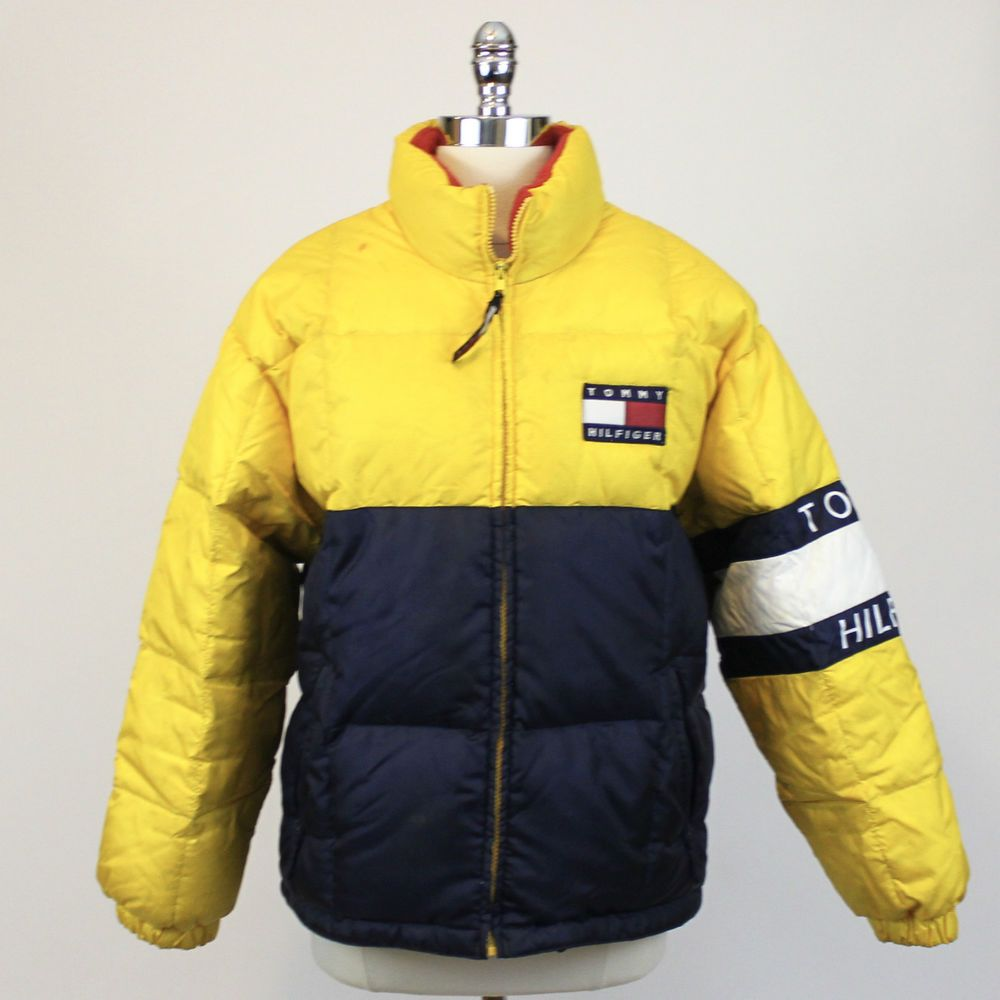 544734a03 TOMMY HILFIGER Rare Big Logo Puffer Down Yellow Winter Jacket ...
