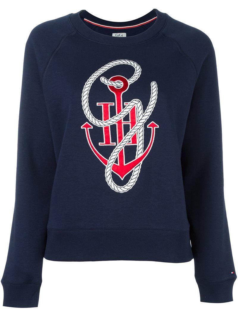 47bb7e66be9 Tommy Hilfiger Tommy x Gigi Hadid anchor print sweatshirt, Women's, Size:  Medium, Blue, Cotton/Polyester