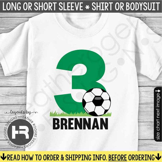3a9e27ee693 Soccer Birthday Shirt or Bodysuit (Green Number) - Monogram Soccer Party  Shirt with Child's Age and Name