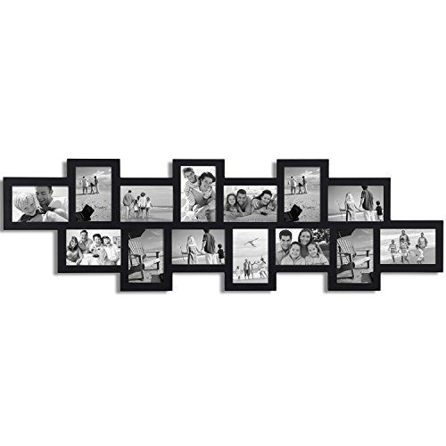 Adeco Black Wood 14 Openings Wall Collage Picture Frame, 4 x 6-Inch ...