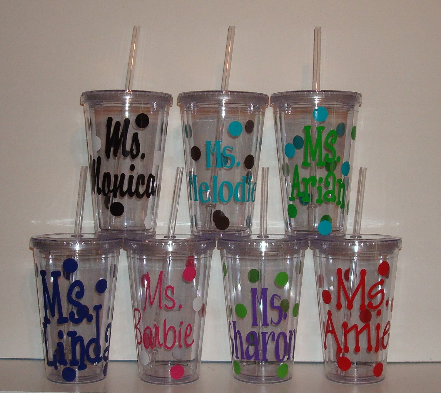 Personalized Acrylic Tumbler Cup With Lid And Straw Polka