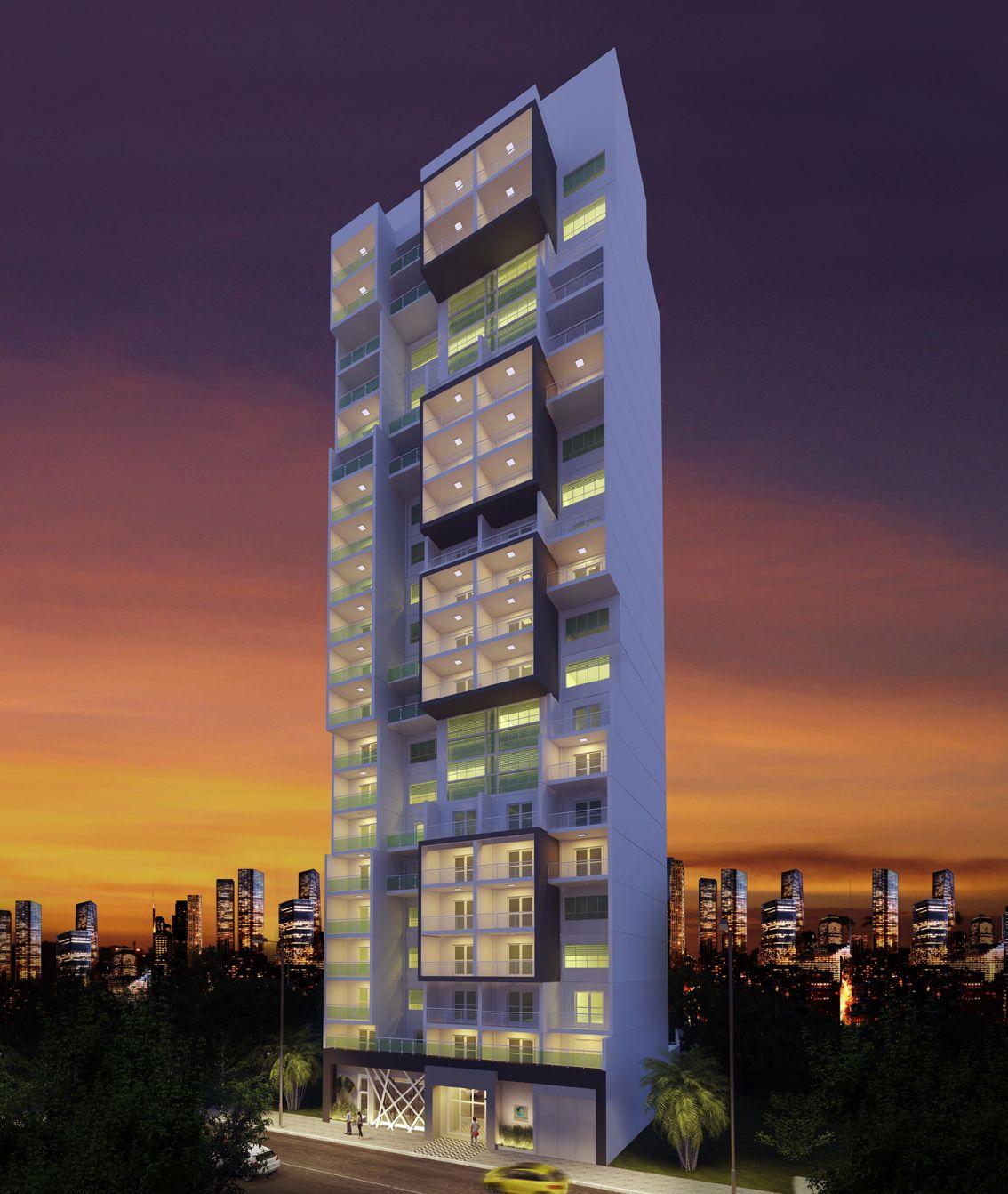 Perspectiva da fachada Connect Sé Apartamentos studios