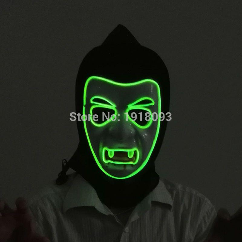 10 color choice Sound active EL wire Mask Halloween vampire Mask EL ...