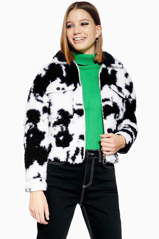 2333cdfb8e1b Cow Faux Shearling Crop Jacket in 2019   W E A R   Jackets, Fashion ...