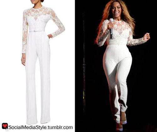 Beyonces On The Run Tour White Lace Embellished Jumpsuit Beyonce