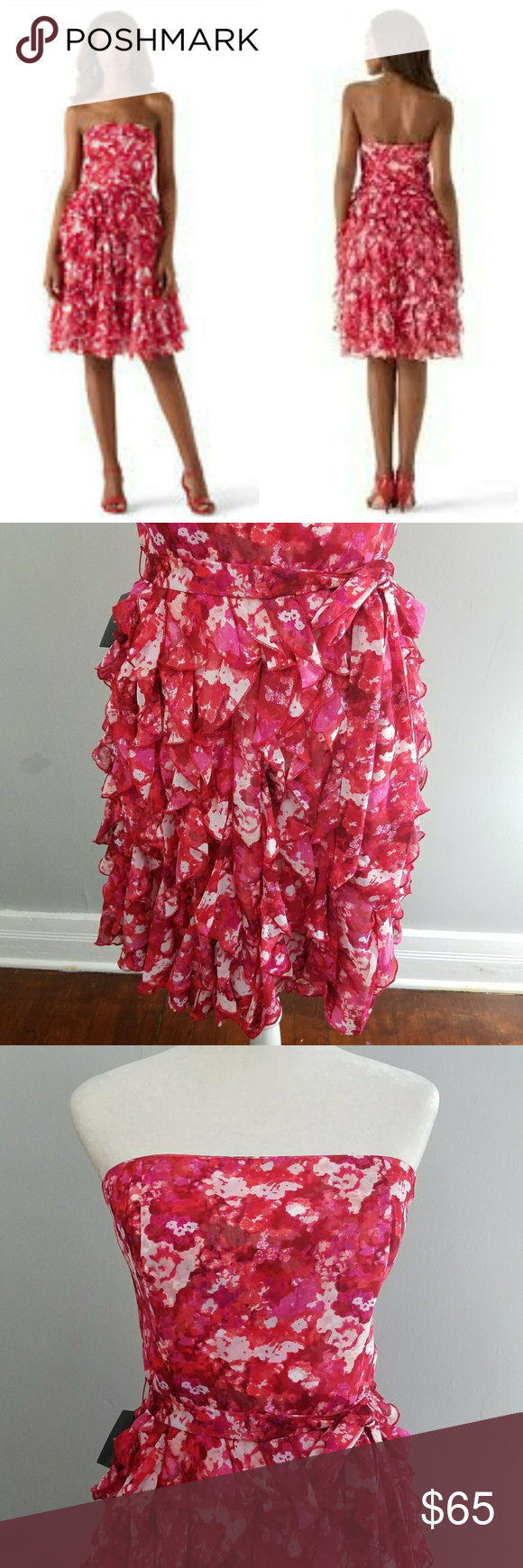 Nwt whbm red floral ruffle dress ruffle dress white house black