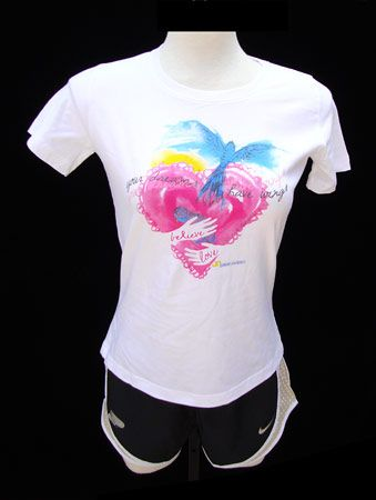 White Pink Purdue Center For Cancer Research Women's Heart T-shirt ...
