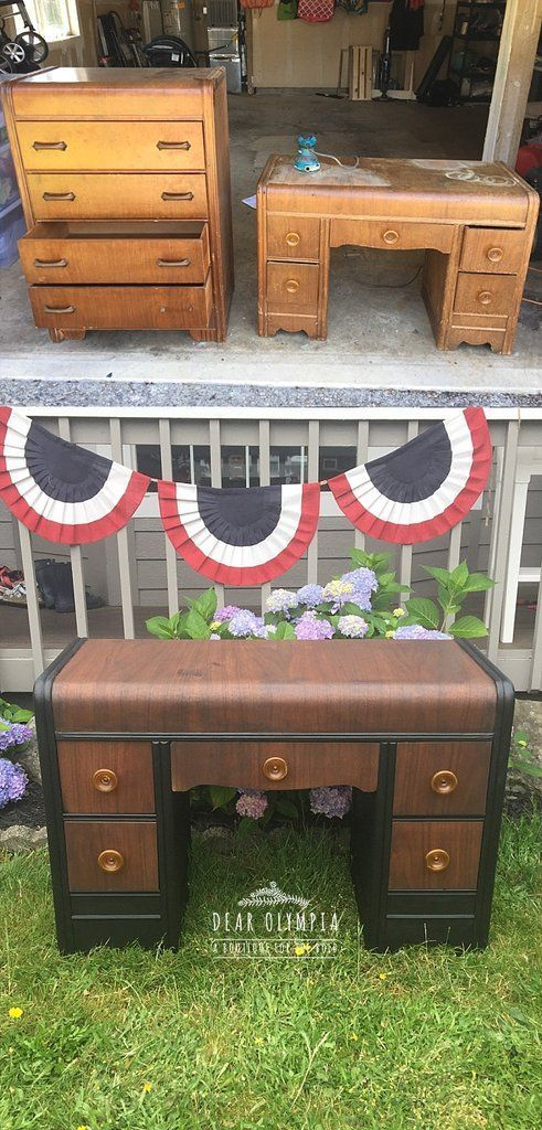 Refinished Antique Waterfall Dresser And Desk Antiques