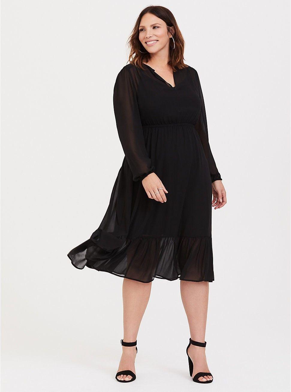 Black Chiffon Midi Dress Chiffon midi dress, Plus size