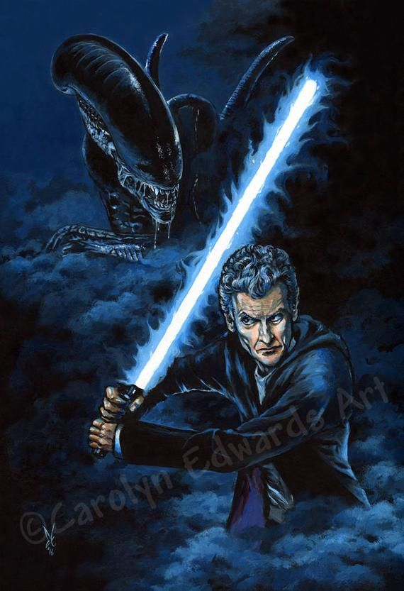 12th Doctor battles Alien! - A4 Art Print (29.7 x 21cm) #12doctor