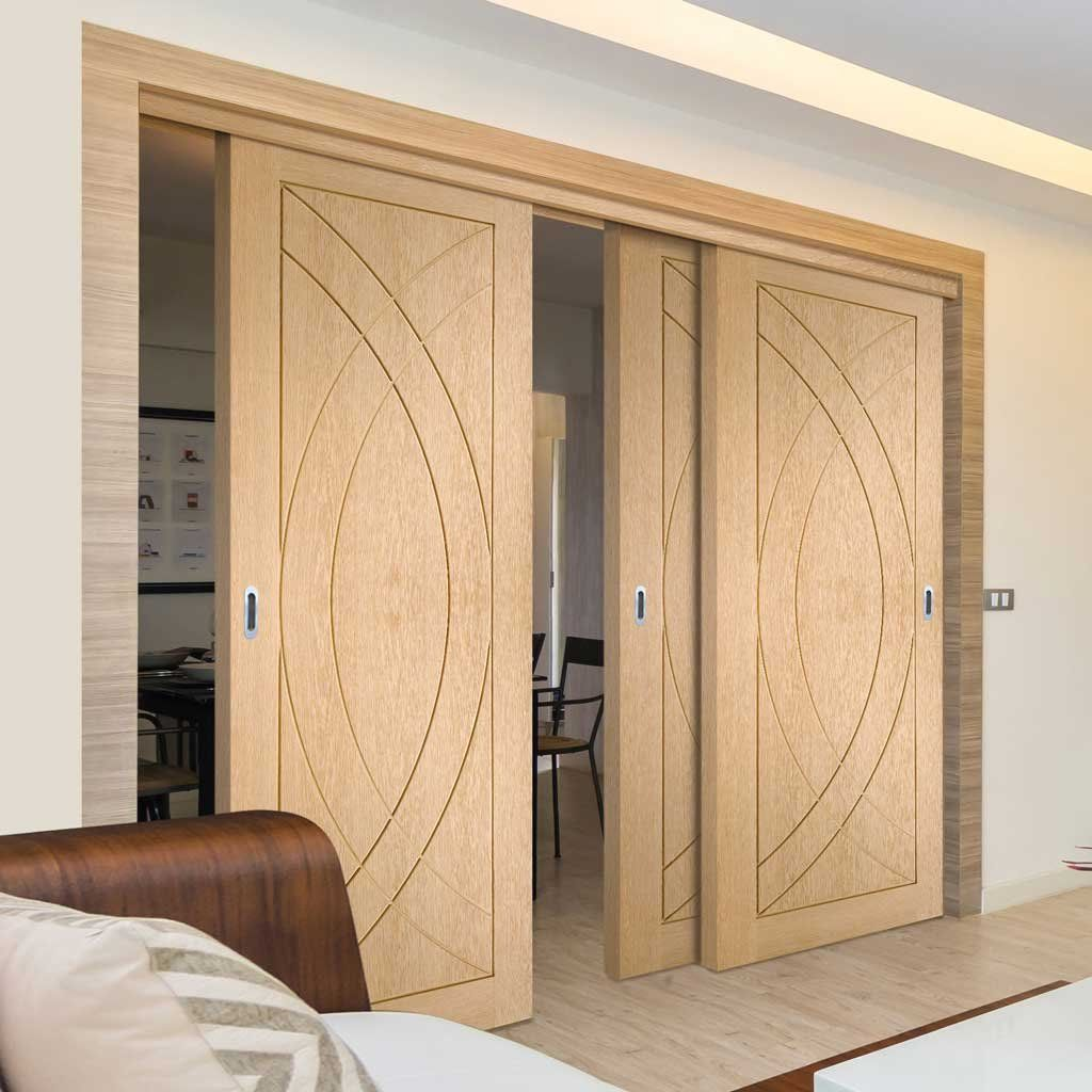 Three Sliding Doors And Frame Kit Treviso Oak Flush Door Prefinished Wardrobe Doors Sliding Wardrobe Doors Sliding Wardrobe