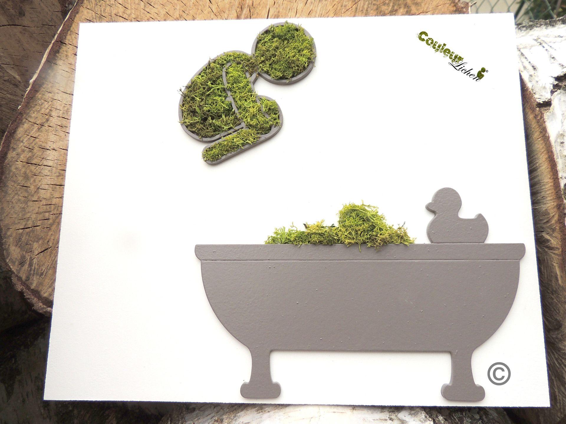 Décoration en lichen pour la salle de bain, tableau végétal \