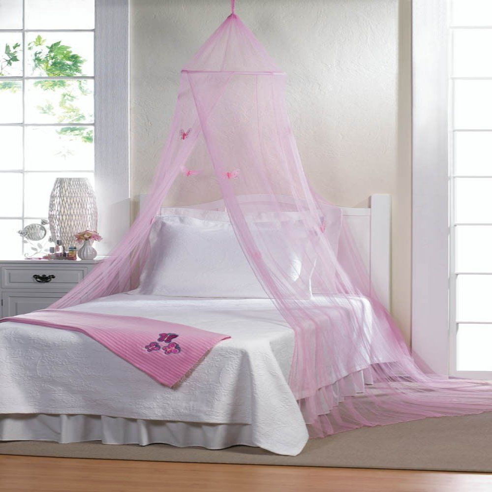 Pink Princess Canopy Hanging Bed Cover Butterflies Net