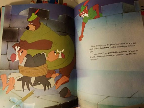 Vtg Robin Hood Walt Disney Classic Series Hardcover 1989