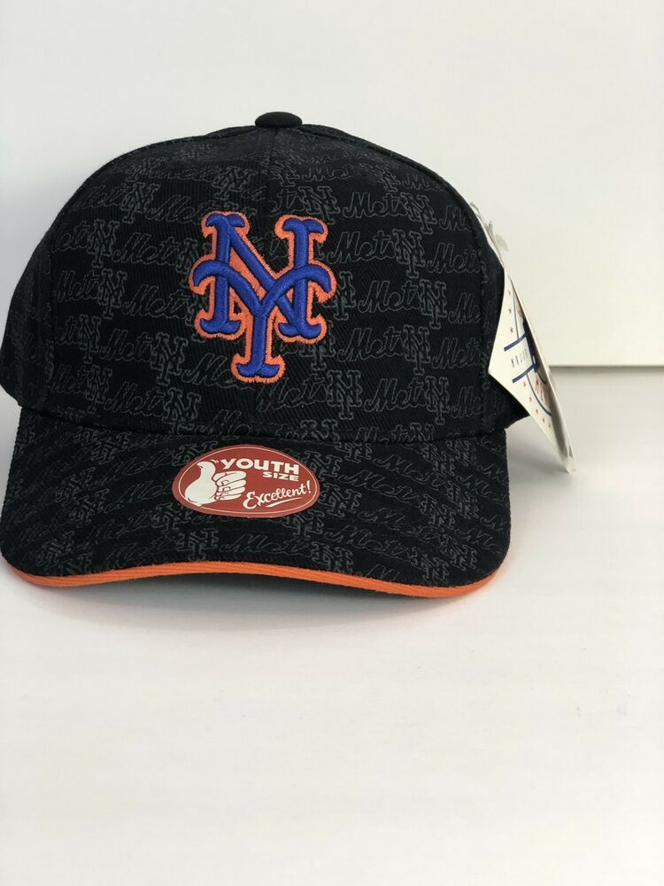 31fc065799684 NEW YORK METS MLB YOUTH ADHESIVE BACK PRESHAPED NEW HAT CAP BY ANNCO Black ?