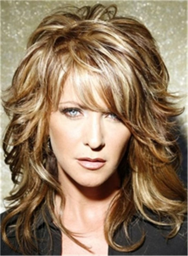 Layered messy wavy midlength human hair capless wigs inches