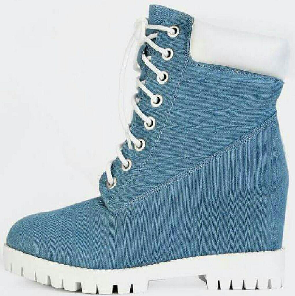 Denim Wedge Boot With White Bottom