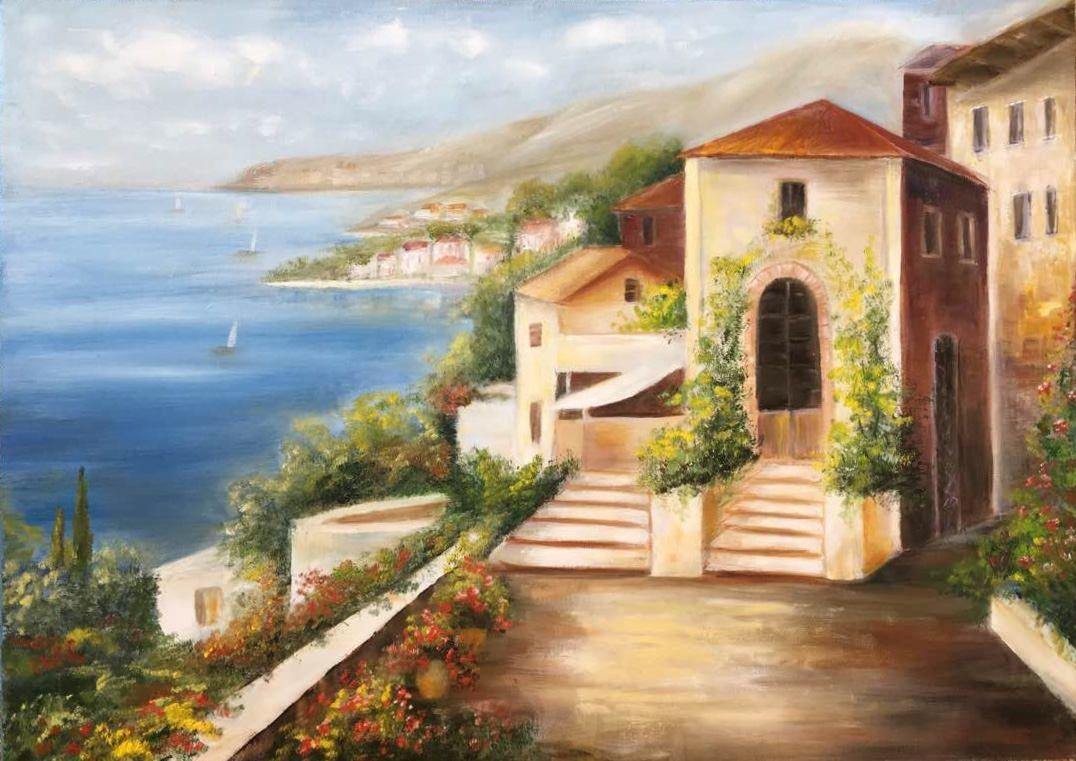 Landscape Oil Canvas Wall Art Decor Original Seascape Oil Painting Houses Anniversary Painting Gift Summer Painting Canvas Art Wall Decor Painting
