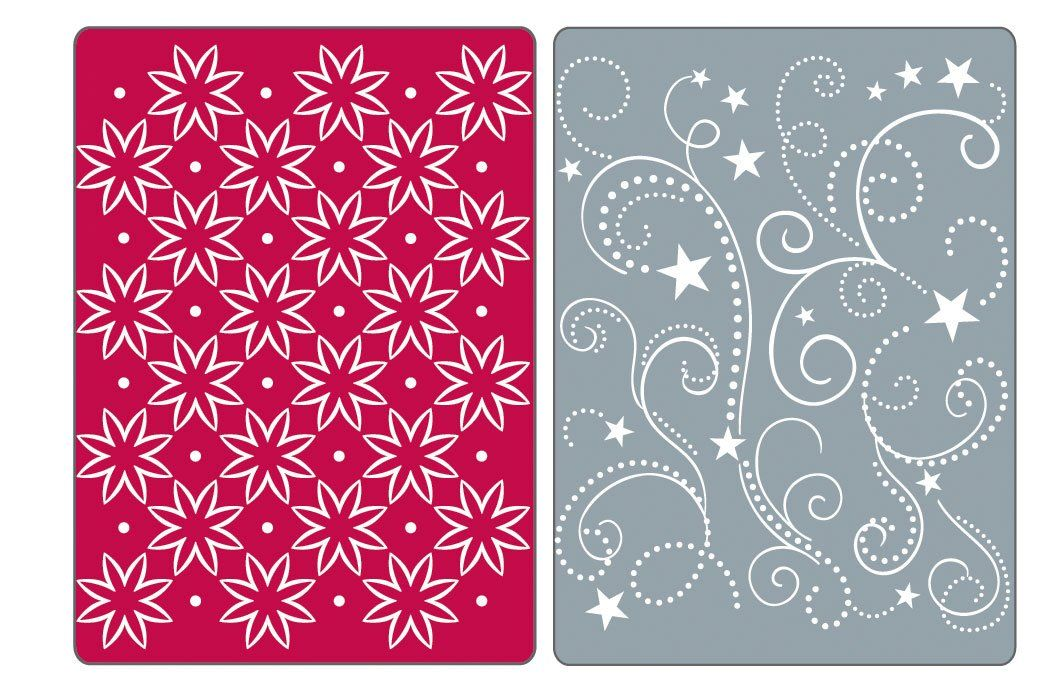 Sizzix Textured Impressions Embossing Folders 2PK - Flowers, Stars & Swirls Set by Rachael Bright